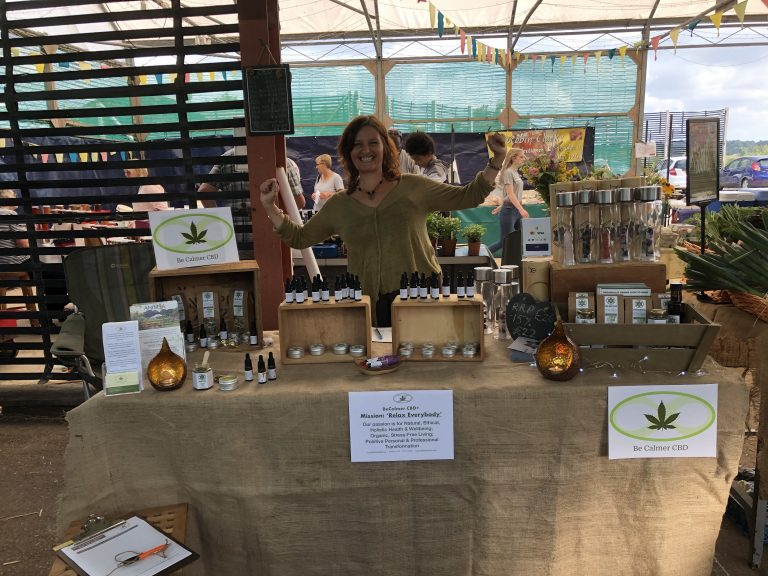 Paula looking pretty delighted at our first ever market stall at 'The Fold Sustainable Living Centre' in Bransford, Worcestershire in July